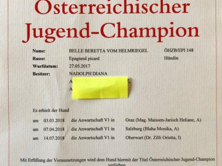 Belle Beretta ist nun österreichischer Jugendchampion!
